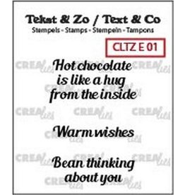 Crealies Clearstamp Tekst & Zo hot chocolate, warm wish(ENG) CLTZE01