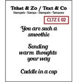 Crealies Clearstamp Tekst & Zo smoothie, warm thoughts (ENG) CLTZE02