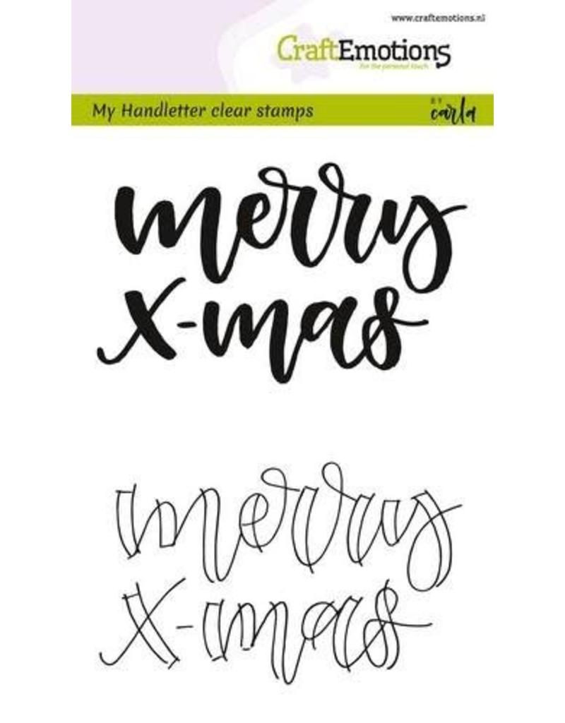 CraftEmotions clearstamps A6 - handletter - Merry xmas (Eng)
