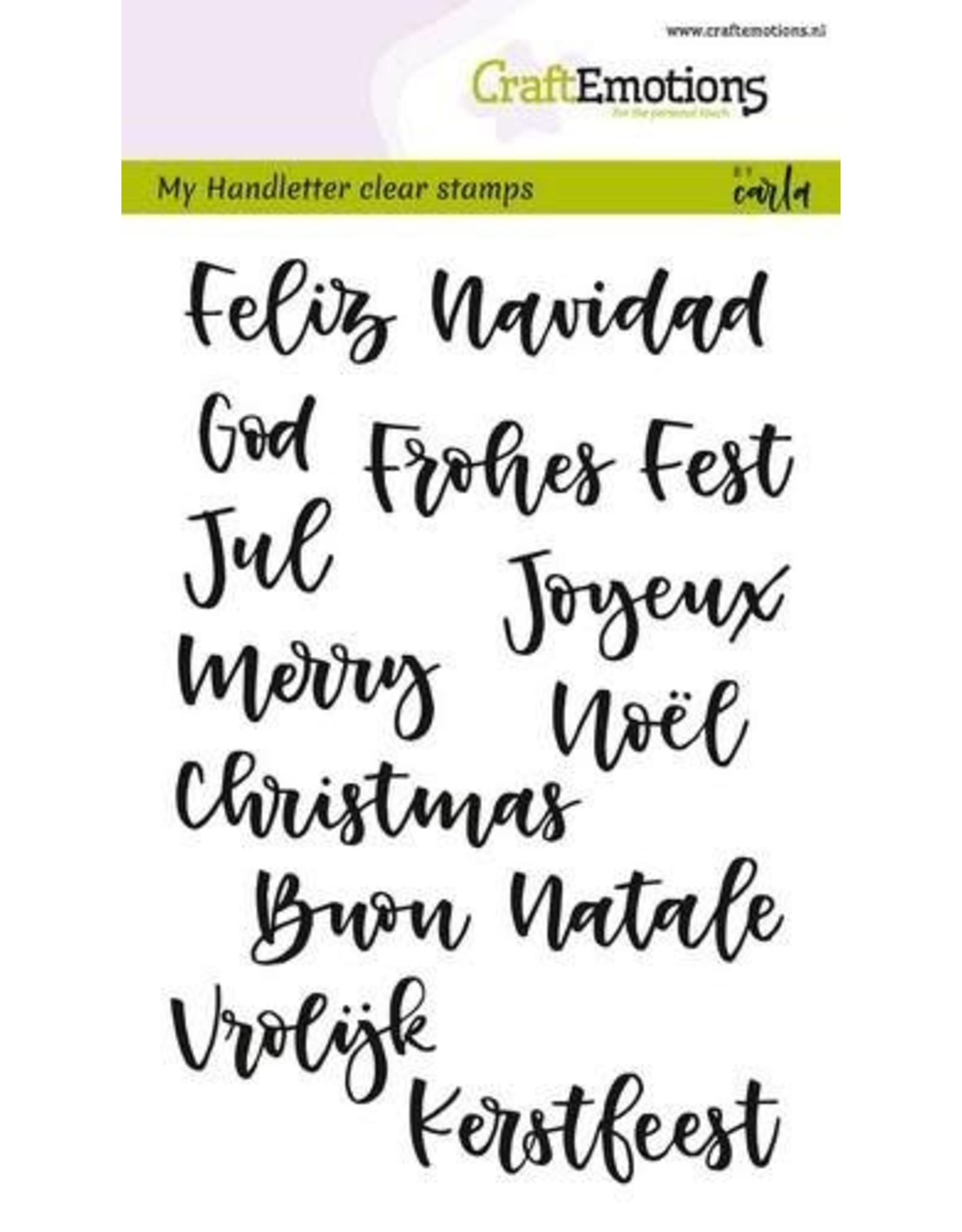 Craft Emotions CraftEmotions clearstamps A6 - handletter - kerst in 7 talen