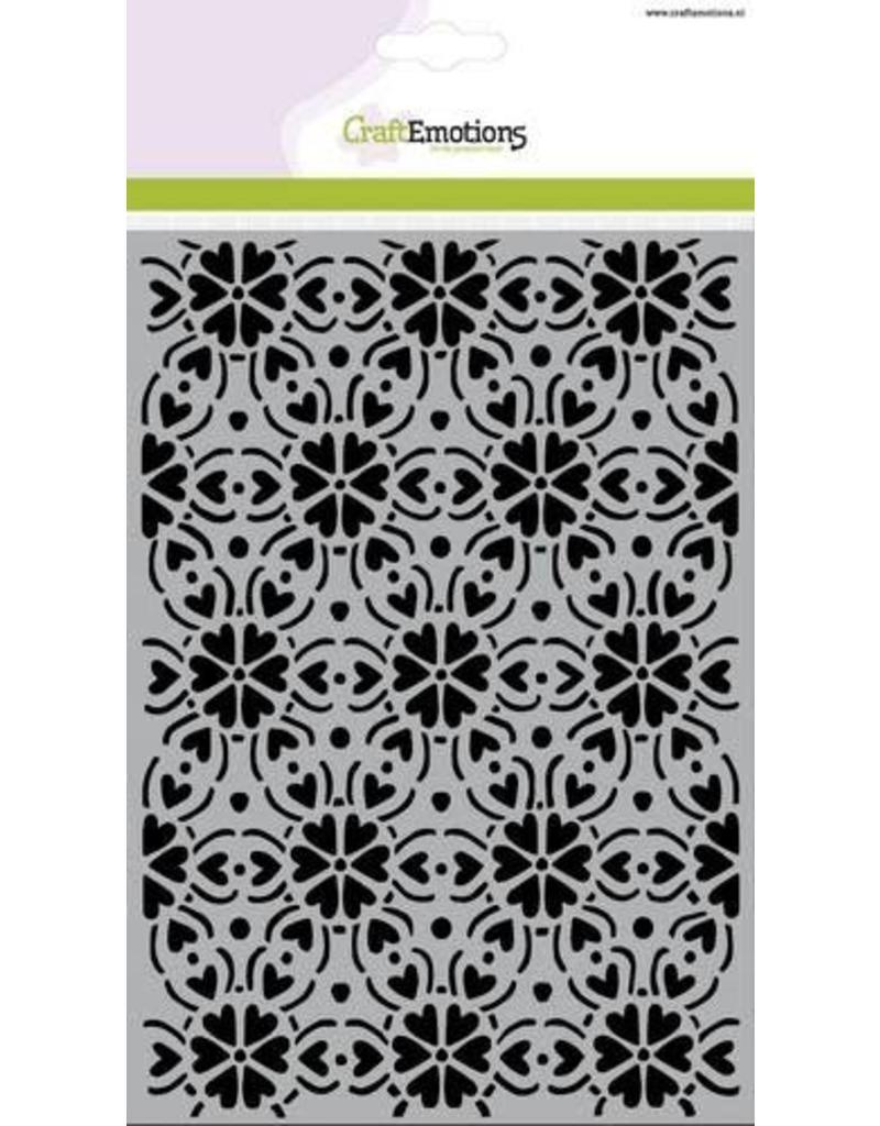 CraftEmotions Mask stencil - patroon ornament hart bloem A5