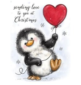 Wild Rose Clear Stamps Wild Rose Studio`s A7 stamp set Penguin with Heart CL524