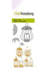 Craft Emotions CraftEmotions Die - 3 lantaarns met sneeeuw Card 5x10cm