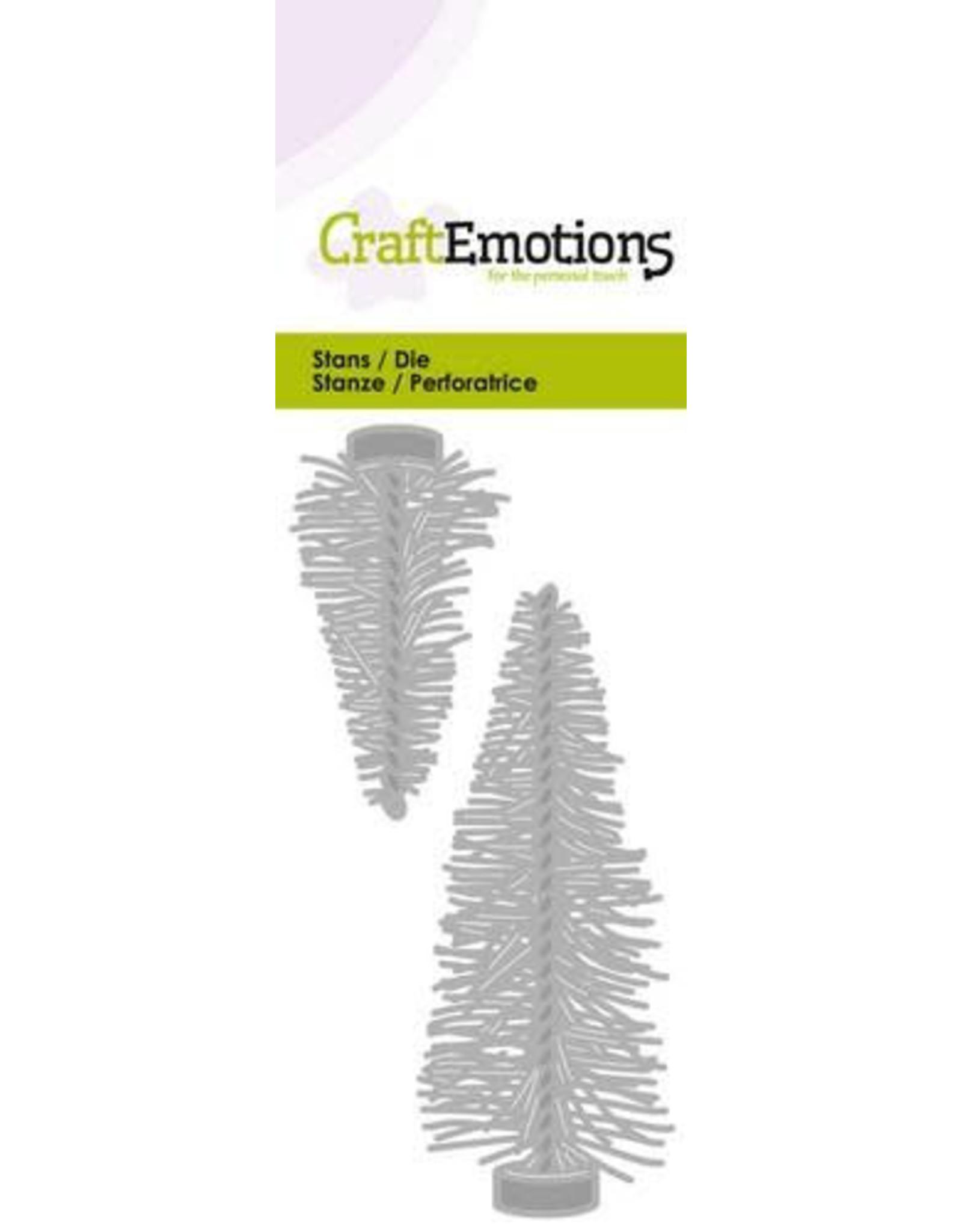 Craft Emotions CraftEmotions Die - hippe decoratie kerstboompjes Card 5x10cm