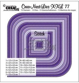 Crealies Crea-nest-dies Crealies Crea-Nest-Lies XXL no 77 Vierk. afger. hoek st.lijn CLNestXXL77 max. 13,5 x 13,5 cm
