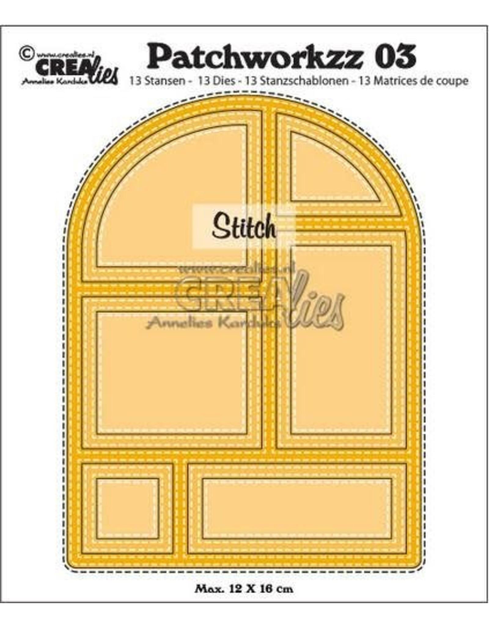 Crealies Crealies Modern Patchwork no.3 stiklijn boog CLPW03 max. 12 x 16 cm