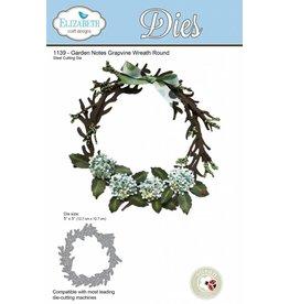 Elizabeth Crafts design dies Garden notes Grapevine Wreath Round 1139