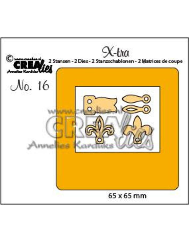 Crealies X-tra no. 16 diaraampje + sluitingen CLXTRA16