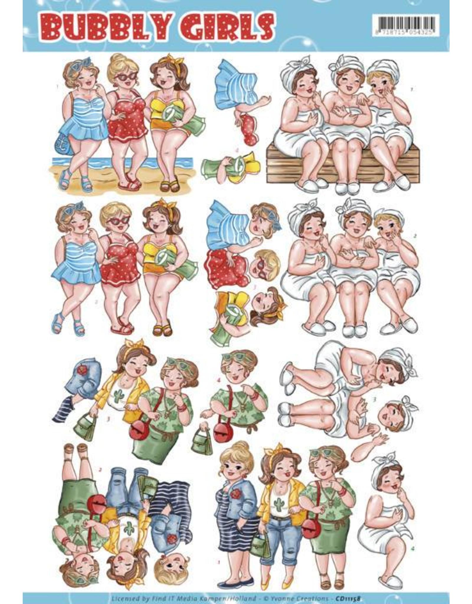 3D knipvel - Yvonne Creations - Bubbly Girls - Having Fun