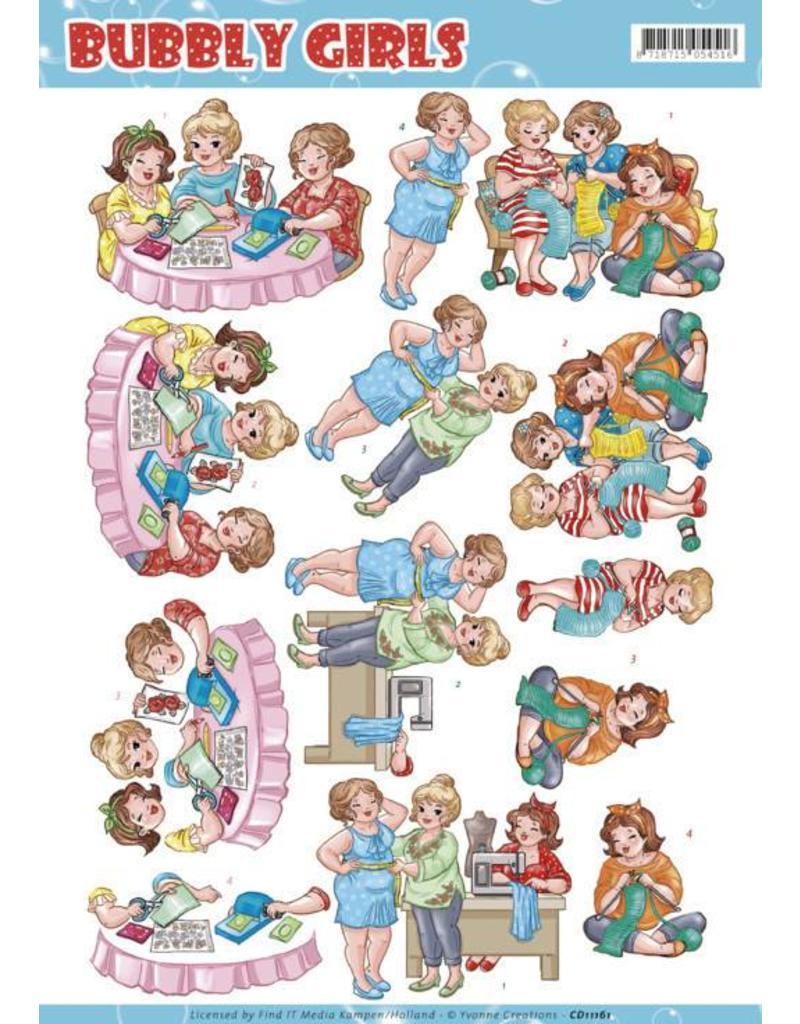 3D knipvel - Yvonne Creations - Bubbly Girls - crafting Girls