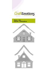 CraftEmotions Die - 2 huisjes met sneeuw Card 5x10cm