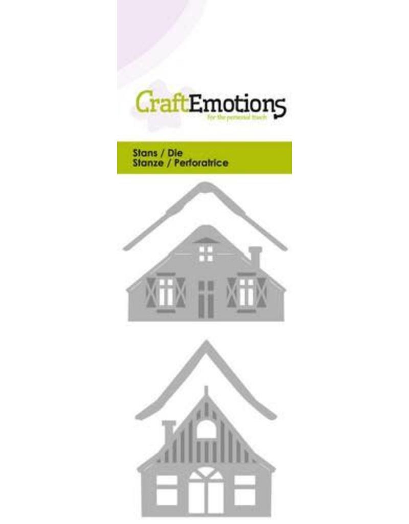 Craft Emotions CraftEmotions Die - 2 huisjes met sneeuw Card 5x10cm