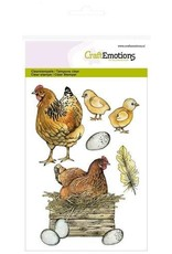 Craft Emotions CraftEmotions clearstamps A6 - kip met kuikens