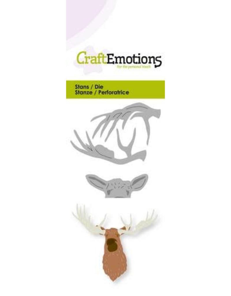 Craft Emotions CraftEmotions Die - kop eland 3D Card 5x10cm
