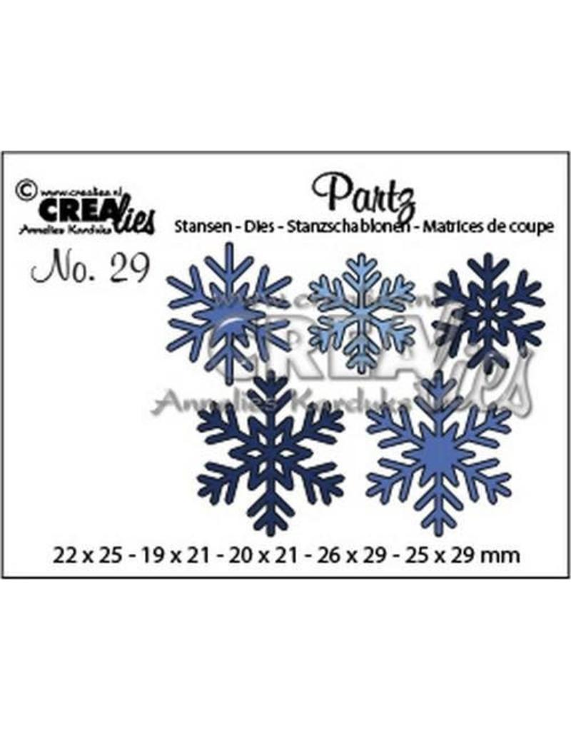 Crealies Partz no. 29 5x sneeuwvlokken CLPartz29 19 x 21 - 26 x 29