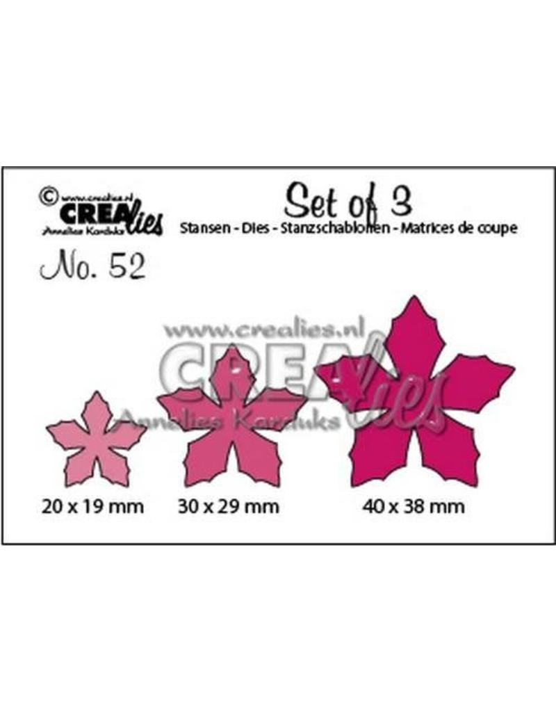 Crealies Set of 3 no. 52 bloemen 23 CLSet 52 20 x 19 mm - 40 x 38 mm