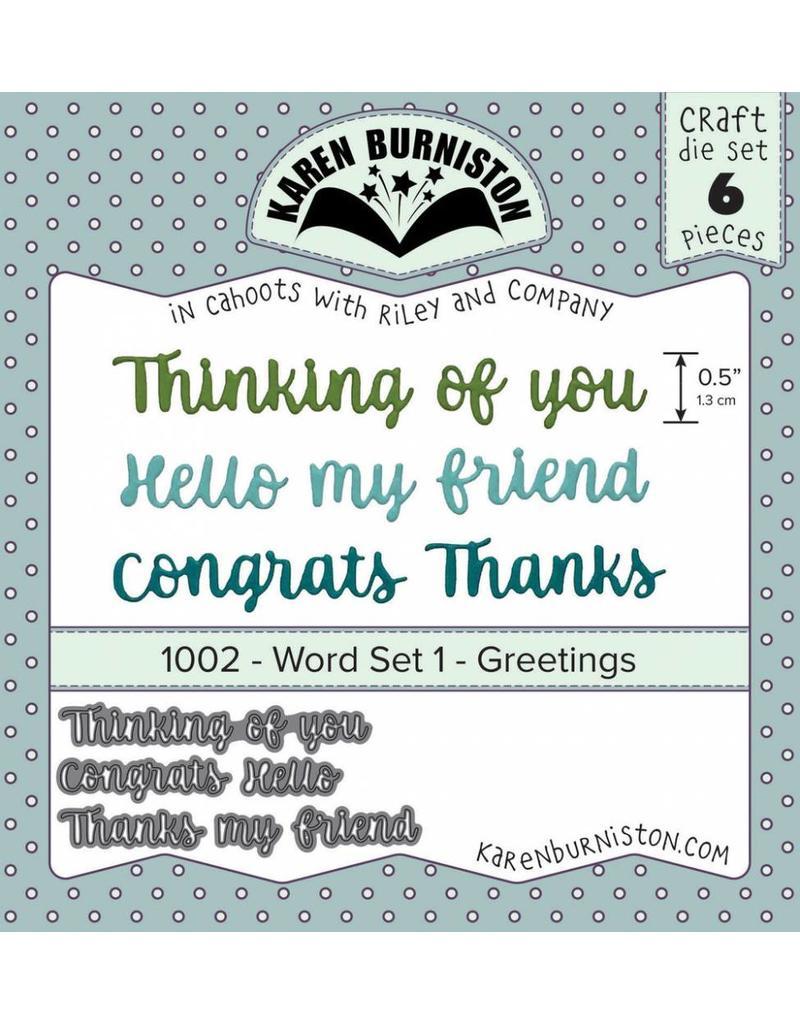 Karen Burniston Word Set 1 Greetings Die Set 1002 Stampsandcards