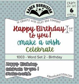 Karen Burniston Karen Burniston Word set 2 Birthday die set 1003