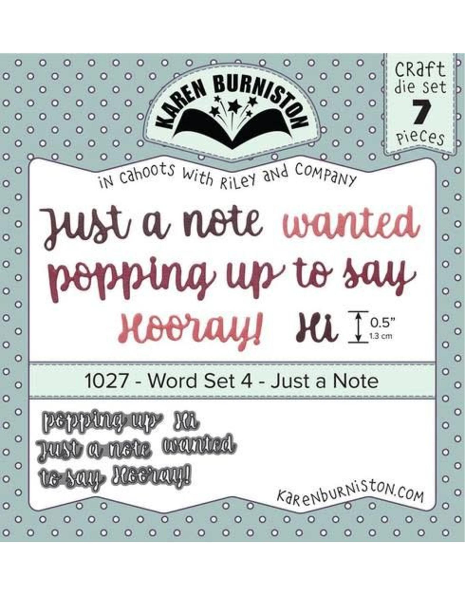 Karen Burniston Karen Burniston Word set 4 Just a note 1027