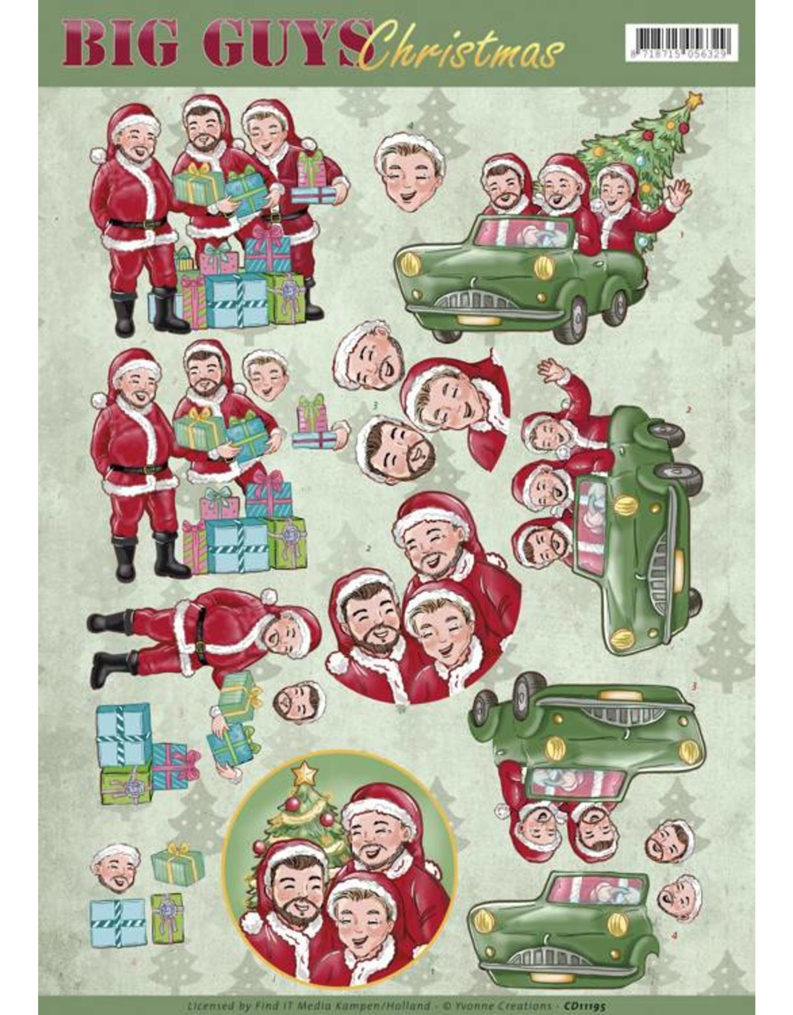 3D Knipvel - Yvonne Creations - Big Guys Christmas - Santa's