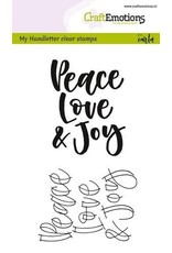 CraftEmotions clearstamps A6 - handletter - Peace Love...(Eng)