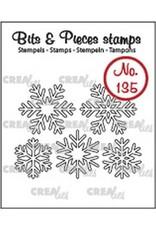 Crealies Clearstamp Bits & Pieces 5x sneeuwvlokken omlijning CLBP135 max. 20 x 20 mm