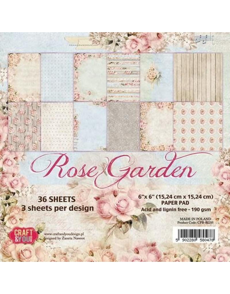 Craft&You Rose Garden Small Paper Pad 6x6 36 vel CPB-RG15