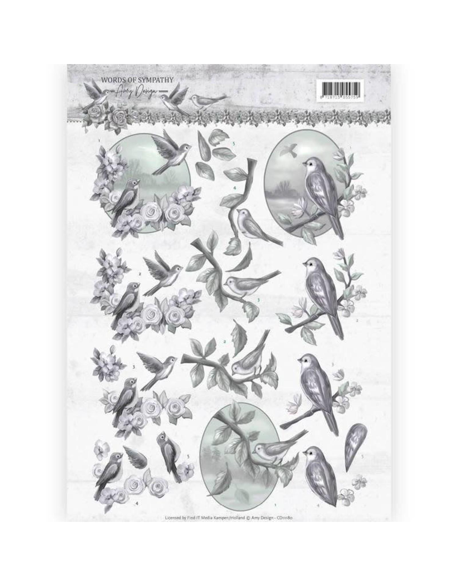 3D knipvel - Amy Design - Words of Sympathy - Sympathy Swallows