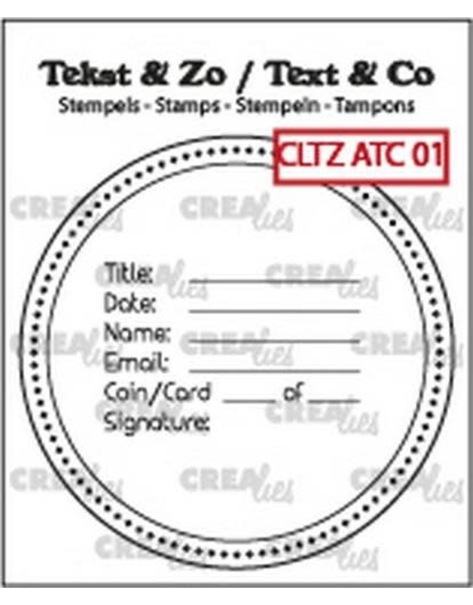 Crealies Clearstamp Tekst & Zo tekst voor ATC/AT Coin CLTZATC01 51 x 51 mm