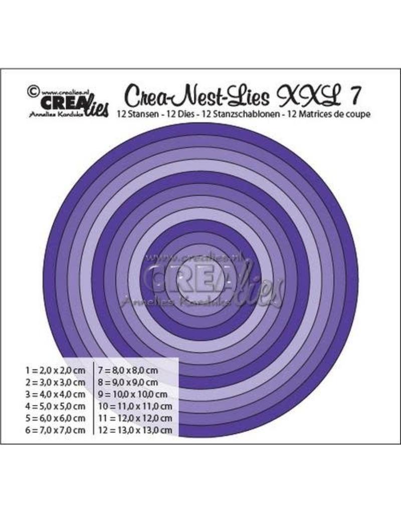 Crealies Crea-nest-dies XXL no. 7 stans rond basis CLNestXXL07 / 2 cm - 13 cm