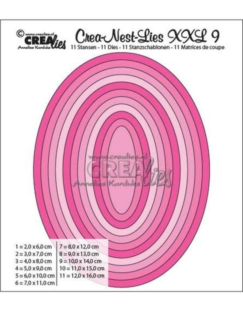 Crealies Crea-nest-dies XXL no. 9 stans ovaal basis CLNestXXL09 / 6 cm - 16 cm