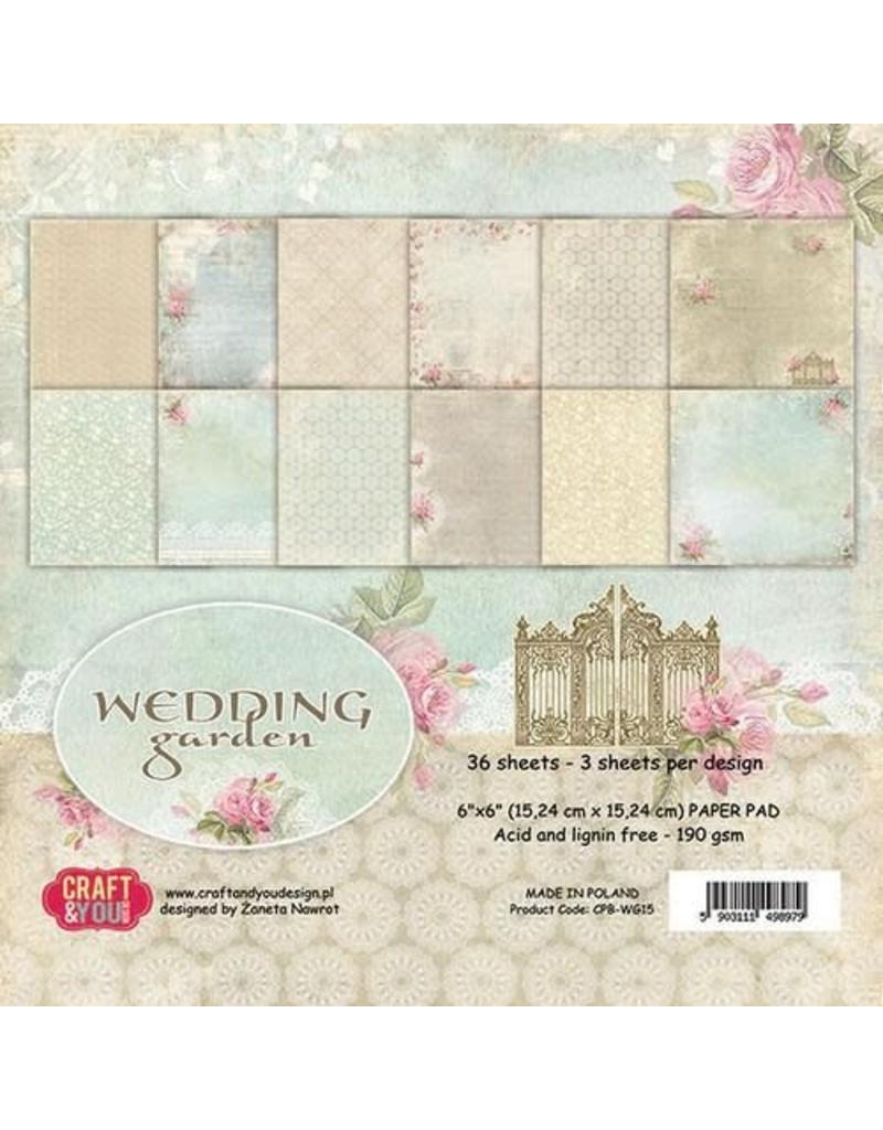 Craft&You Wedding Garden Small Paper Pad 6x6 36 vel CPB-WG15