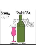 Crealies Double Fun no. 36 champagneglas en wijnfles klein CLDF36 13x40 - 22x76mm