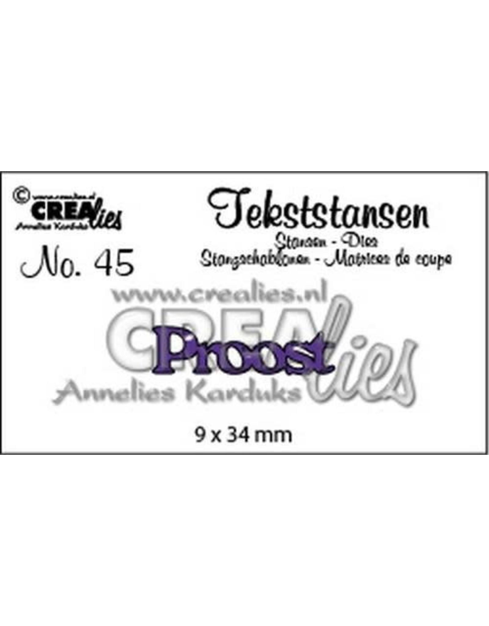 Crealies Tekststans no 45 Proost (NL) CLTS45 9x34mm