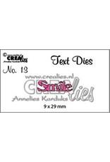 Crealies tekststans (Eng) nr. 13 Smile CLTD13 9x29mm