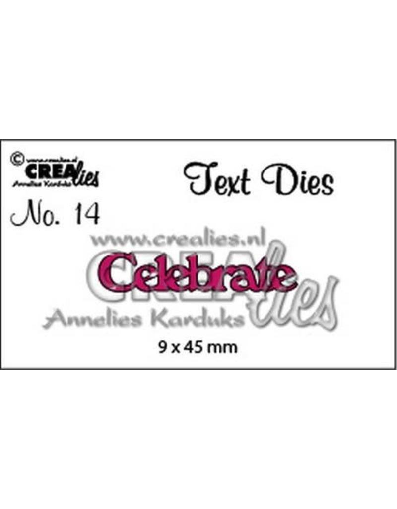 Crealies tekststans (Eng) nr. 14 Celebrate CLTD14 9x45mm