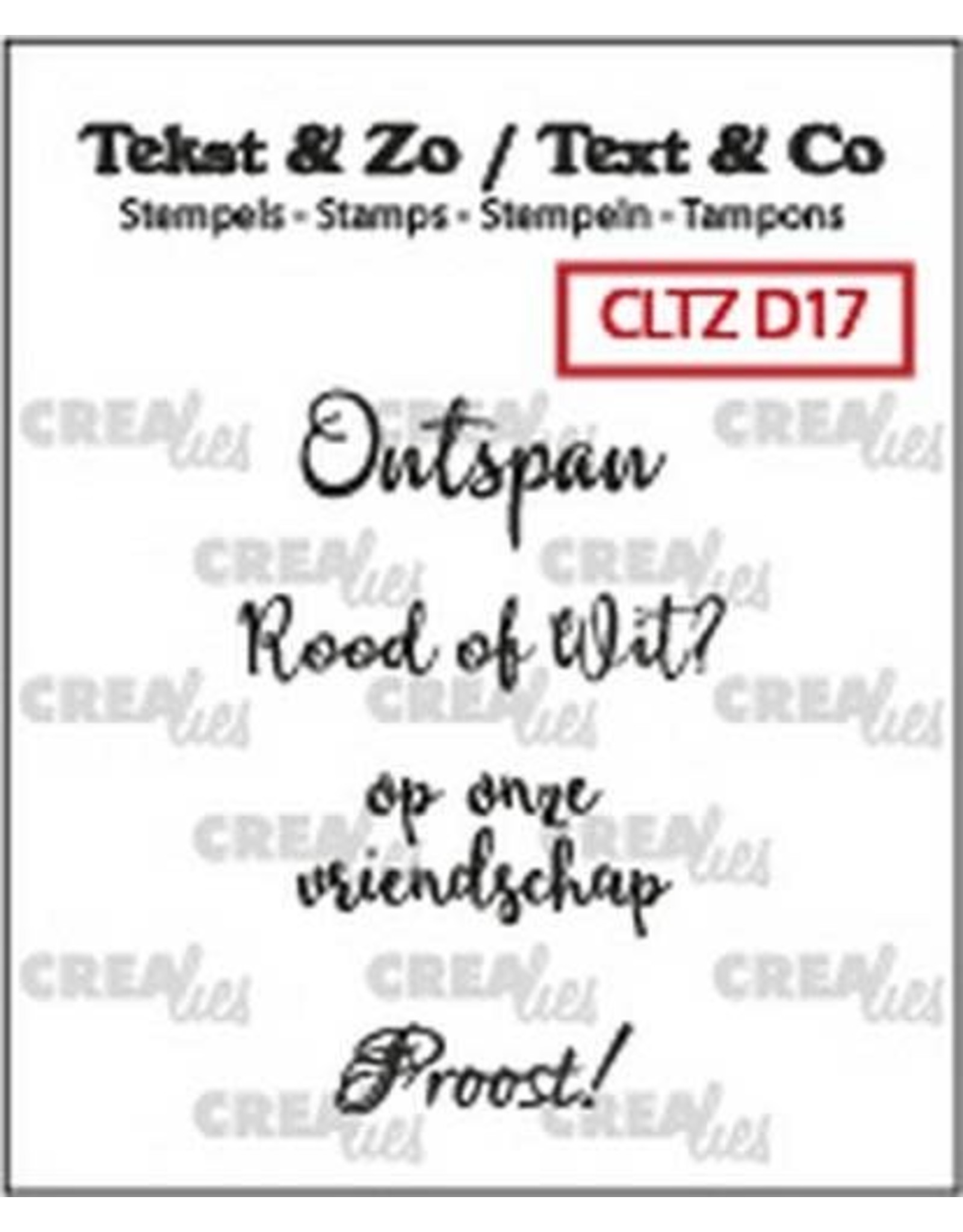 Crealies Clearstamp Tekst & Zo Wijn A (NL) CLTZD17 max. 28mm (