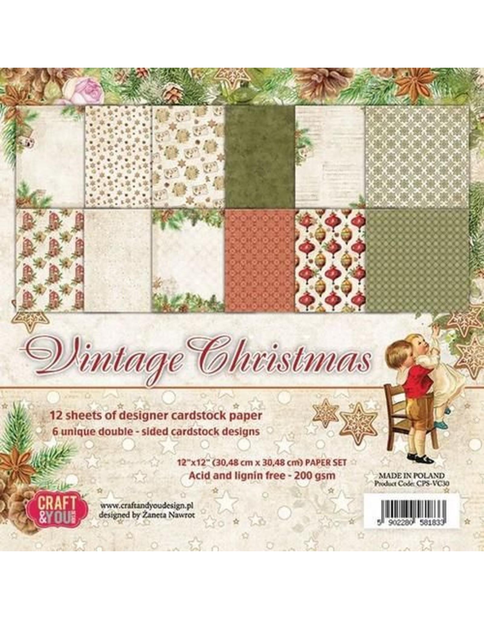 Craft&You Vintage Christmas Big Paper Set 12x12 12 vel CPS-VC30 (09-18)