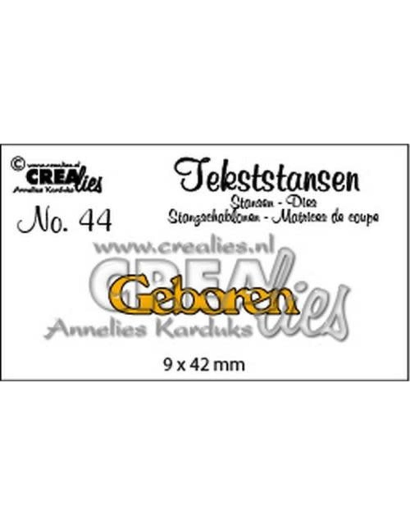 Crealies Tekststans no 44 Geboren (NL) 9x42mm