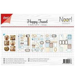 Joy Noor papierset Joy Crafts Labelvellen/knipvel - Noor - Happy Travel  6011/0411