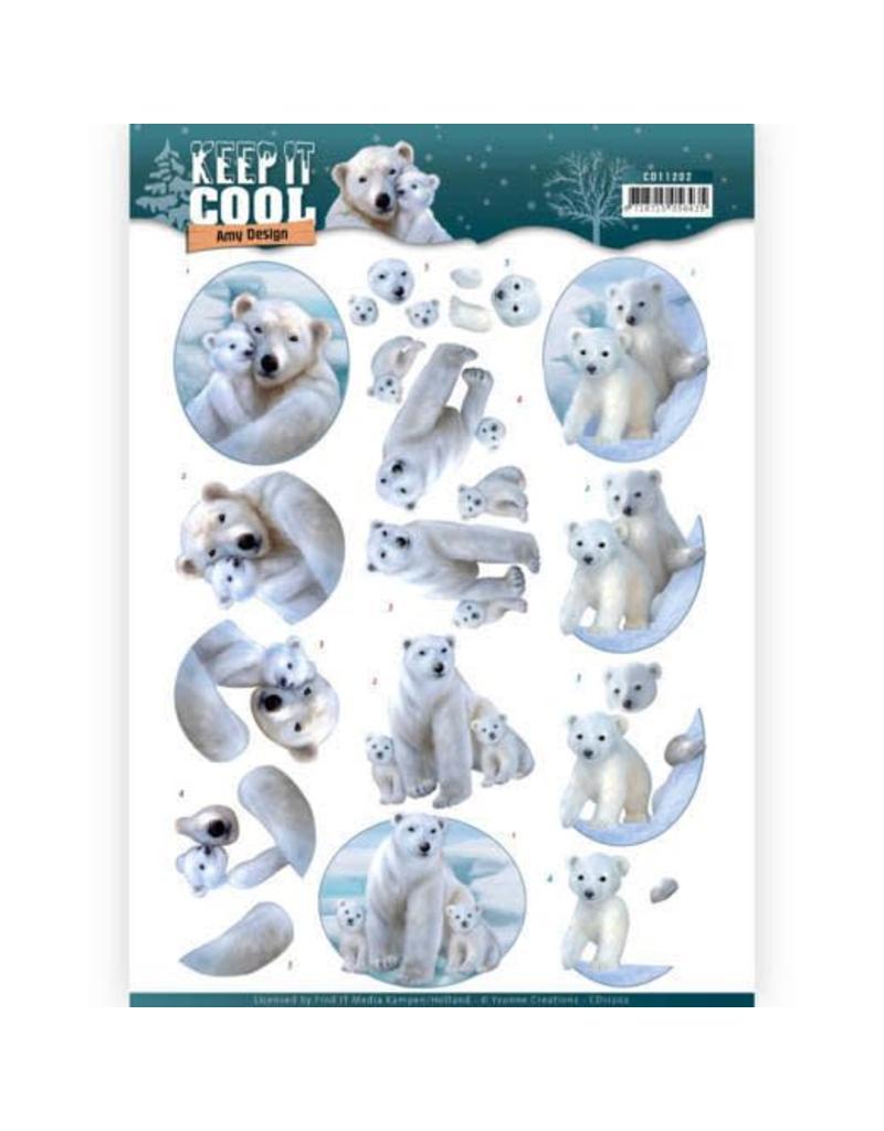 3D knipvel - Amy Design - Keep it Cool - Cool Polar Bears  CD11202