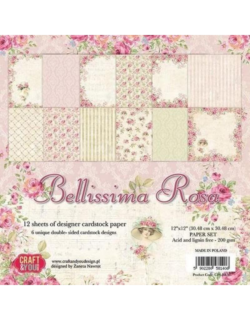 Craft & You Craft&You Bellissima Rosa Big Paper Set 12x12 12 vel