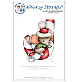 Wimsy Stamps Whimsy Stamps Mousey Candy Cane Rubber Cling Stamp C1139