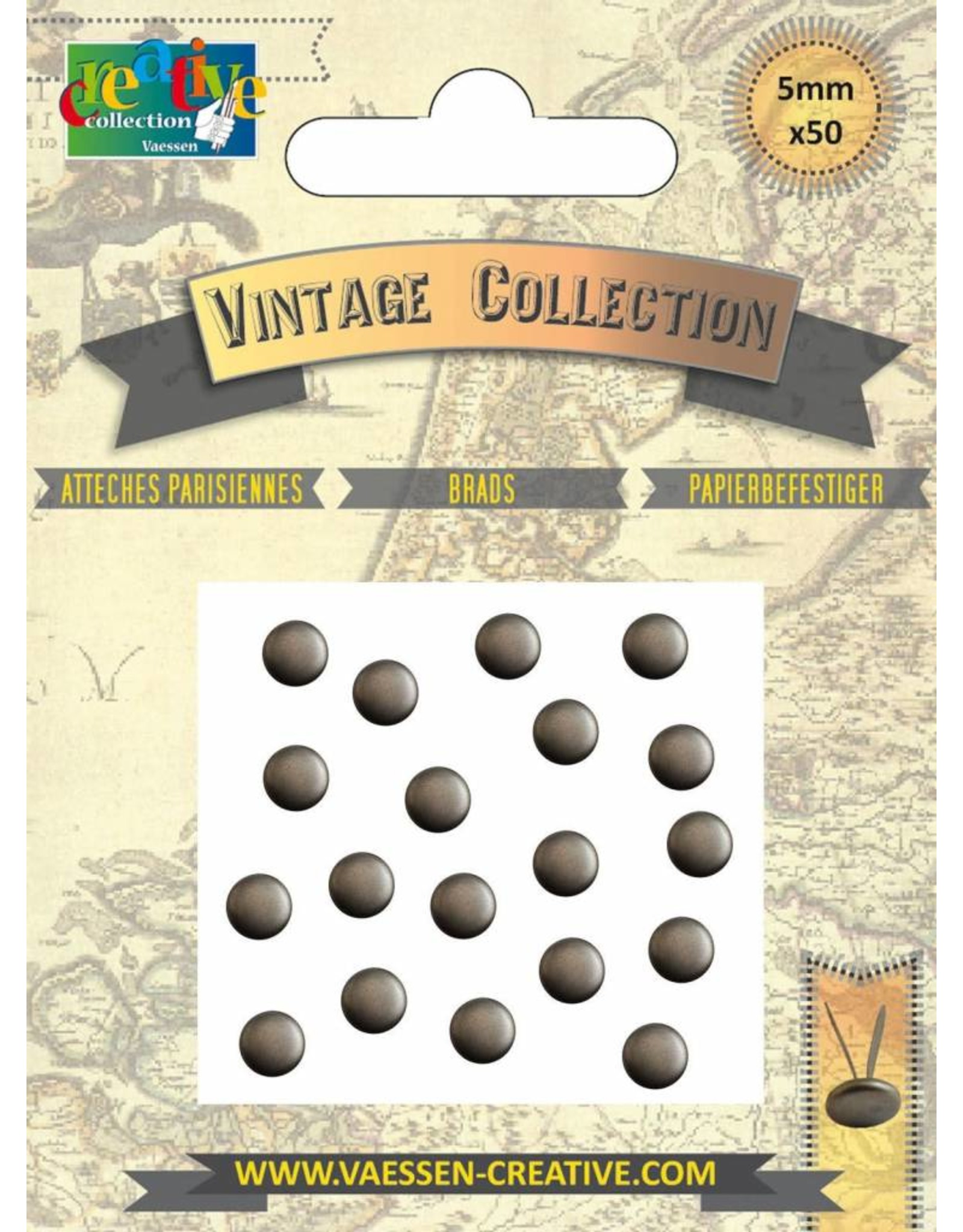 Vaessen Creative Brads Vintage 5mm x50 antiek goud