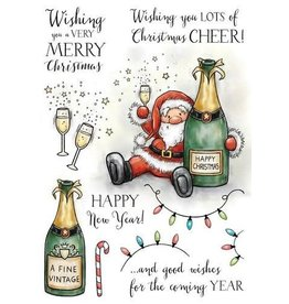 Wild Rose Clear Stamps Wild Rose Studio`s A5 stamp set Boozy Santa AS005