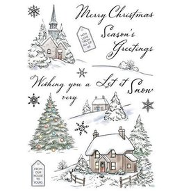 Wild Rose Clear Stamps Wild Rose Studio`s A5 stamp set Winter Cottages AS006