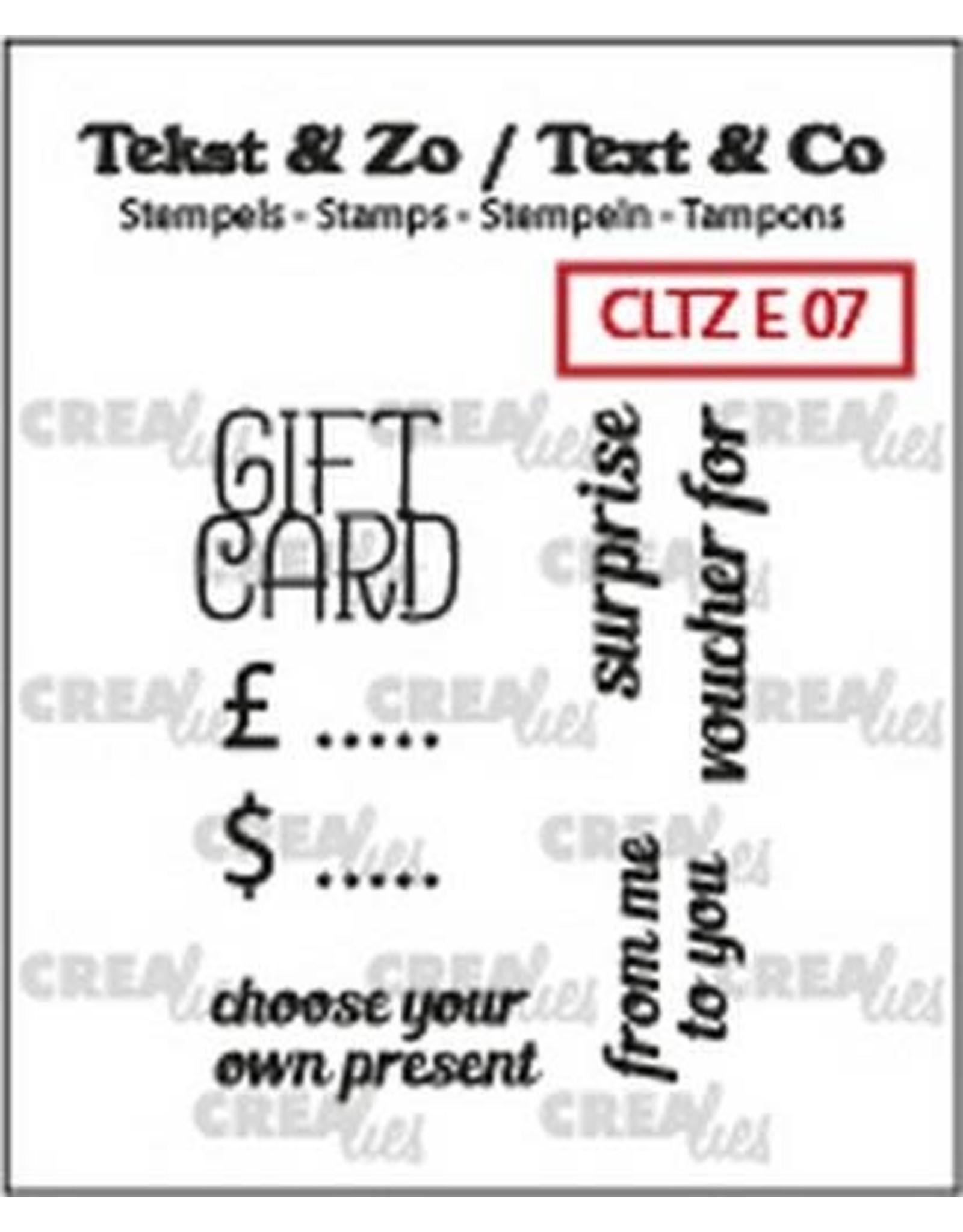 Crealies Crealies Clearstamp Tekst & Zo text gift card (ENG) CLTZE07