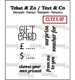 Crealies Crealies Clearstamp Tekst & Zo text gift card (ENG) CLTZE07