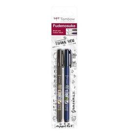 Tombow Tombow Brush pen Fudenosuke blister zwart 2 st - zacht, hard