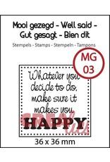 Crealies Crealies clearstamp mooi gezegd Happy CLMG01